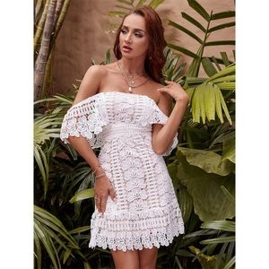 Crochet Lace Off-The-Shoulder Mini Dress nwot